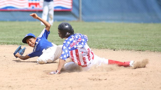 Boonville 10-year-old shortstop Karson Elbert races to the bag at second for the force out against MABA Saturday in the Cal Ripken 11 (70) State Tournament at the Cooper County Baseball Association ballfield at Harley park. The Boonville 10 All-Stars defeated MABA 15-14.