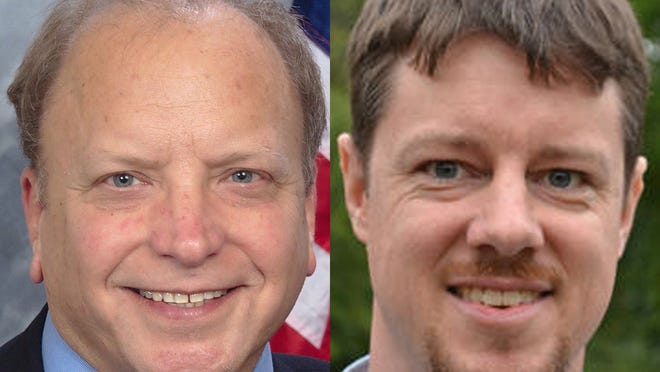 Dr. John Bizon, left, and Andy Helmboldt, opponents in the 62nd District state House race.