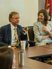 Gov. Bill Haslam and Julie Mix McPeak, commissioner of the Tennessee Department of Commerce and Insurance, at a governor's meeting with department employees. Haslam was impressed with her insurance knowledge when he was on the campaign trail and offered her the chance to lead the TDCI.