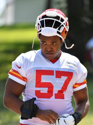 The Kansas City Chiefs hope former second-round draft pick Breeland Speaks (57) can supply depth this season for a deep and talented defensive line.