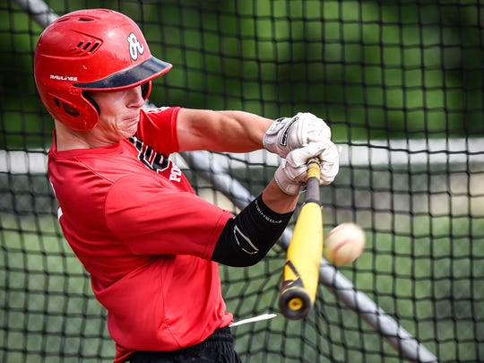 Rocori's Ben Nelson takes a turn in the batting cage
