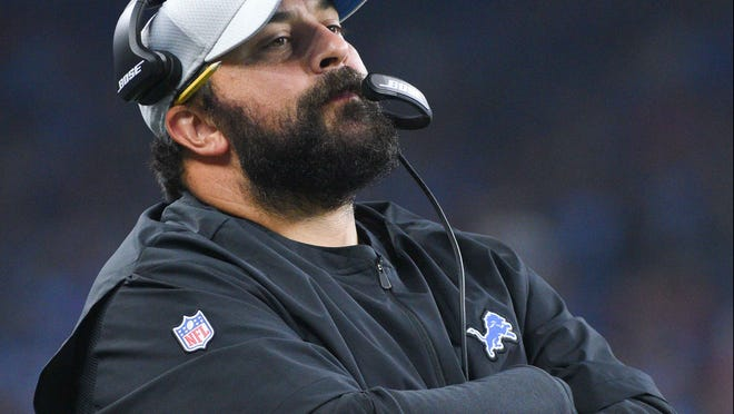 Detroit Lions head coach Matt Patricia during the first quarter against the New York Giants at Ford Field on Aug. 17, 2018.