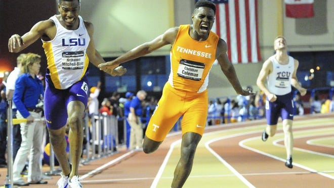 Tennessee track athlete Christian Coleman wins 200m during the NCAA Indoor Track and Field Championships Saturday, March 12, 2016, in Birmingham, Ala. (CHERYL TREWORGY/TENNESSEE ATHLETICS)