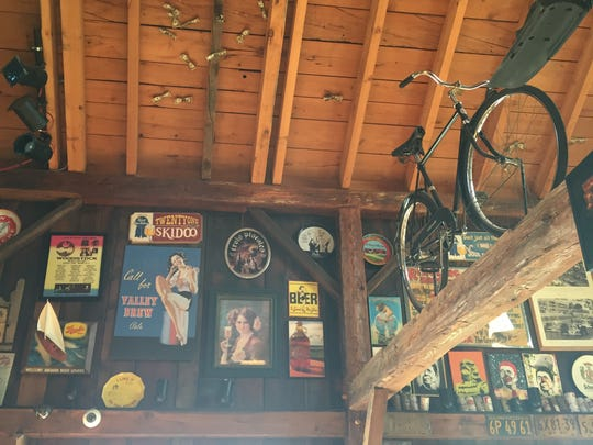 The rafters of Two Goats Brewing are filled with quirky memorabilia.