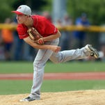 Parsippany pitcher Declan Devens throws vs. Jefferson in NJSIAA Group II baseball semifinal at the Lyndhurst Recreation Center. The Red Hawks advance to the finals with an 8-3 victory over the Falcons. June 7, 2016, Lyndhurst, NJ