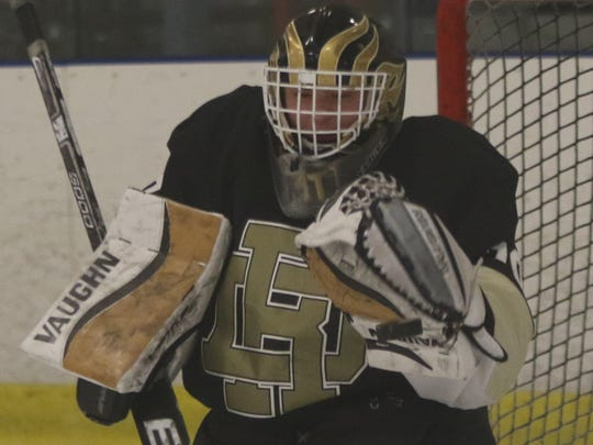 Matt Ajello of River Dell/Westwood led all North Jersey goaltenders in save percentage and goals-against average during the 2016-17 hockey season.