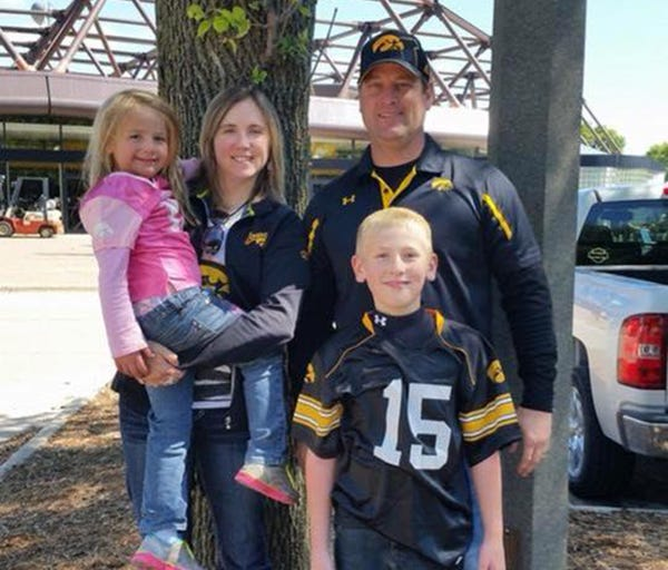 This undated family photo shows from left, Adrianna, Amy, Kevin and Sterling Sharp, of Creston, Iowa. The family was found dead in a Mexico condo Friday, March 23, 2018. They were vacationing in Mexico and were supposed to return to Iowa on March 21,