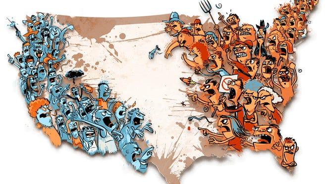 300 dpi Hector Casanova illustration of U.S. map with angry, divided citizens on each coast. The Kansas City Star 2011<p>  krtnational national; krt; krtcampus campus; mctillustration; 11000000; 11003002; 11003004; 11010000; krtdemocrats democrats democrat; krteln election; krtgovernment government; krtpolitics politics; krtrepublicans republicans republican gop; krtuspolitics; movement; national election; party; POL; political campaign; VOTE; krtnamer north america; u.s. us united states; USA; civil unrest; debate; division; kc contributed casanova; 16003003; krtwar war; political dissent; WAR; 2011; krt2011