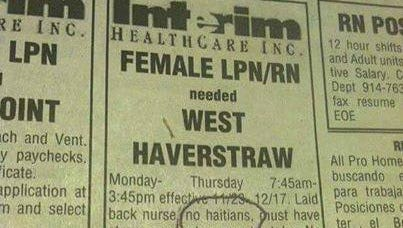 """An ad placed in the Pennysaver says """"No Haitians"""""""