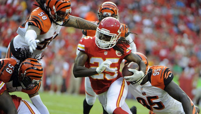 USA TODAY Sports Jamaal Charles was held out of Chiefs practice on Tuesday. Aug 7, 2014; Kansas City, MO, USA; Kansas City Chiefs running back Jamaal Charles (25) escapes the tackle of Cincinnati Bengals middle linebacker Rey Maualuga (58) and defensive end Wallace Gilberry (95) in the first half at Arrowhead Stadium. Mandatory Credit: John Rieger-USA TODAY Sports
