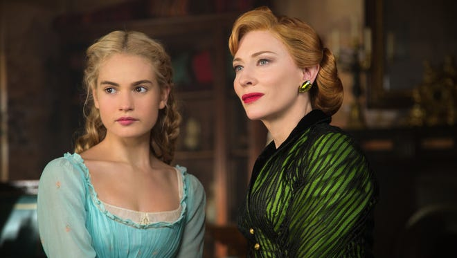 "Lily James plays Cinderella and Cate Blanchett is the Lady Tremaine (aka, the evil stepmother) in ""Cinderella."""