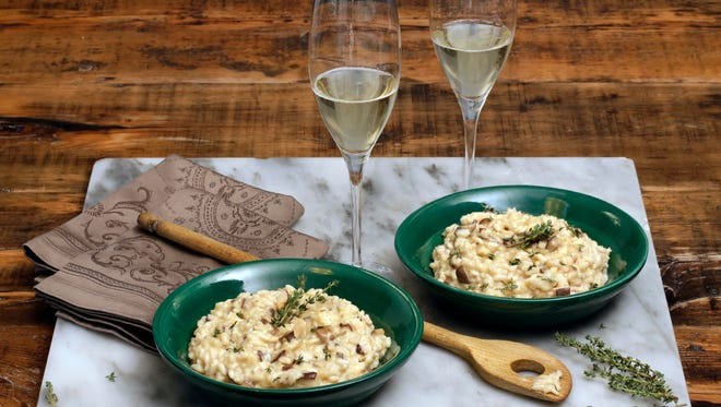 This Oct. 11, 2016 photo shows Champagne risotto at the Institute of Culinary Education in New York. This dish is from a recipe by Elizabeth Karmel.