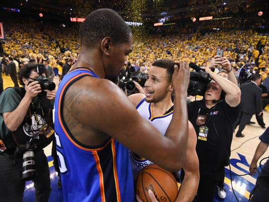 If you can't beat 'em, join 'em. Kevin Durant and Steph Curry are now teammates.
