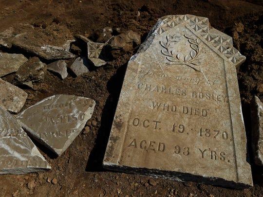 Construction crews found tombstones at Aquinas College