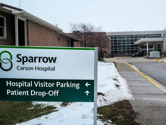 The main entrance to Sparrow Carson Hospital in Carson