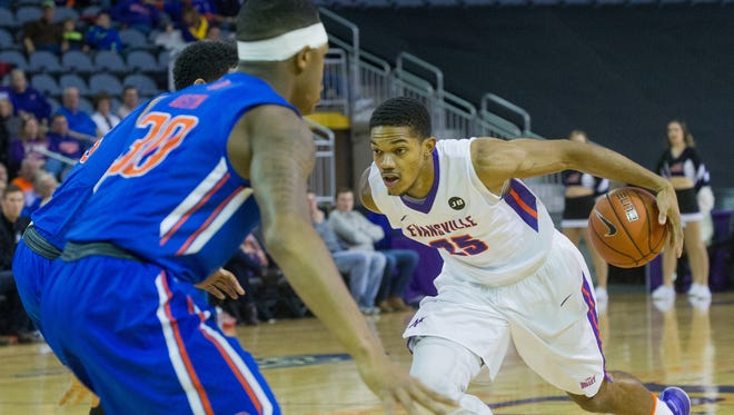 Evansville's Duane 'Boo' Gibson had 10 points, seven assists and five rebounds last season in the MWC-MVC Challenge. The Aces defeated Boise State, 72-67.