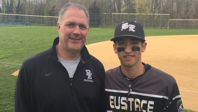 Cancer-free for nine months, Jim Duff enjoys the opportunity to watch his son, Sky, play for the Bishop Eustace Prep baseball team.