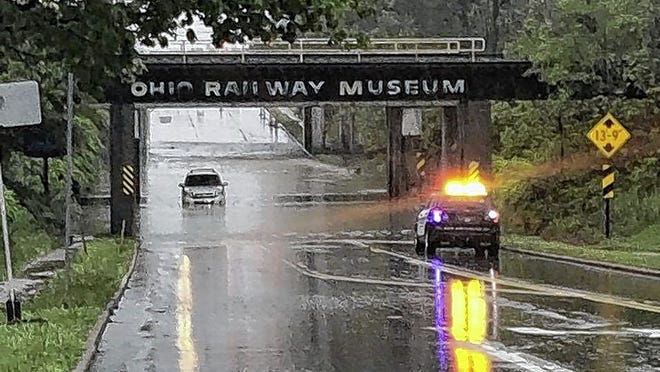 State Route 161 in Worthington was flooded May 19.
