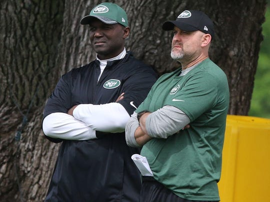 The Jets head coach Todd Bowles and offensive coordinator John Morton watch practice.