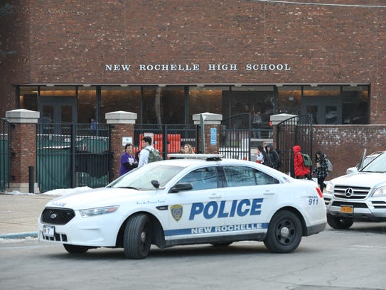 A New Rochelle police car sits in front of New Rochelle