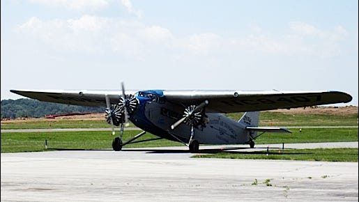 1929 Ford Tri-Motor Airplane at New Garden Flying Field (2016 Photo by S. H. Smith)