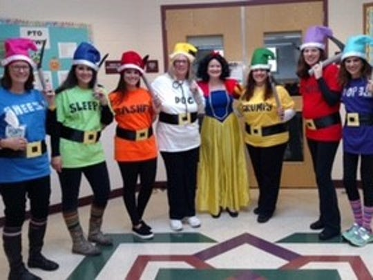Pictured are the third grade teachers and the new Principal, Susan Wardell, as Snow White from IEF Elementary School in Green Brook on Halloween.