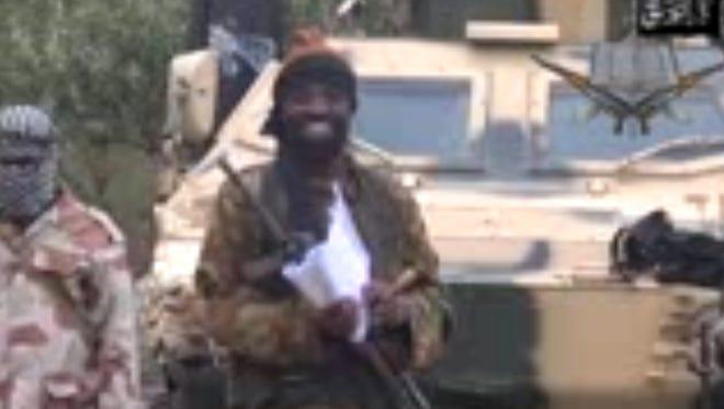 The leader of the Islamist extremist group Boko Haram, Abubakar Shekau, delivers a speech.