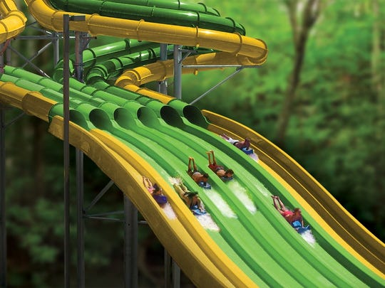The TailSpin Racer will allow up to six participants to race each other down the slide.