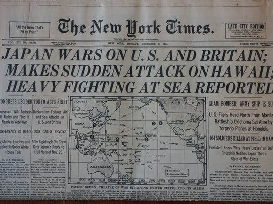The Dec.. 8, 1941, front page of the New York Times announces the attack on Pearl Harbor, Hawaii.