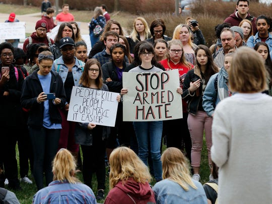 Well over 100 people gathered for the Gun Violence Protest at the Missouri State campus on March 23, 2018.