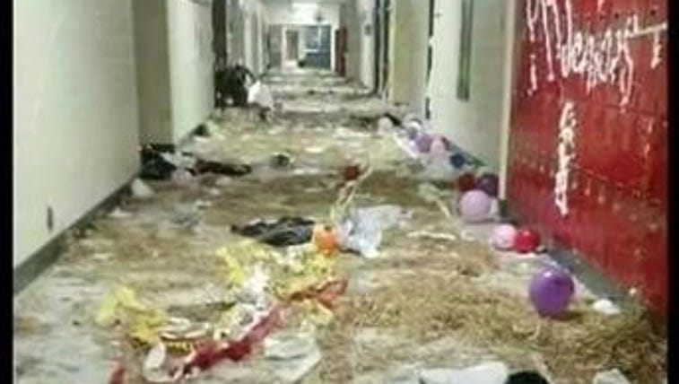 The damage to the interior of Sequoyah High School,