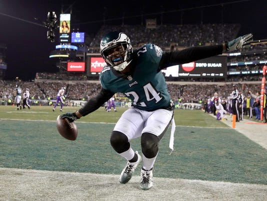 Philadelphia Eagles' Corey Graham reacts after intercepting a pass during the second half of the NFL football NFC championship game against the Minnesota Vikings Sunday, Jan. 21, 2018, in Philadelphia. (AP Photo/Matt Slocum)