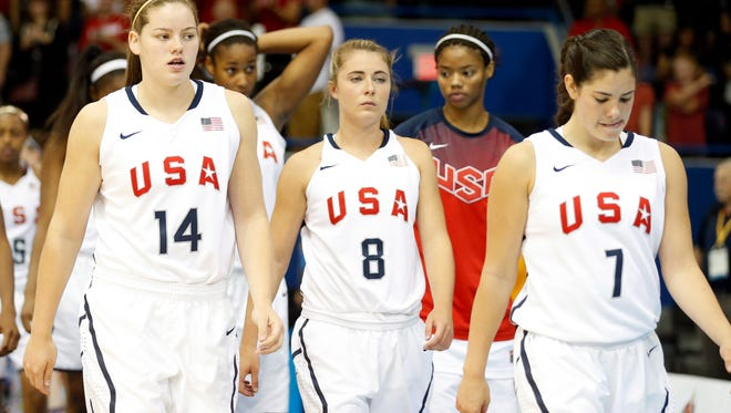 ASU's Sophie Brunner, left, and Washington's Kelsey Plum, right, were teammates on the 2015 U.S. Pan American Games team.