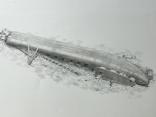 This drawing shows the Clifton as she was discovered