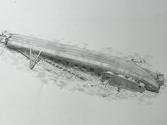 This drawing shows the Clifton as she was discovered on the bottom of Lake Huron