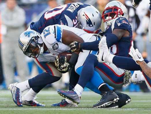 Jeremy Ross #12 of the Detroit Lions is tackled after