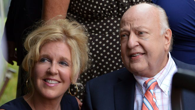 Roger Ailes, right, and his wife, Elizabeth, attend a July 8, 2015, groundbreaking of what was to be the Roger Ailes Senior Center in Cold Spring, N.Y..