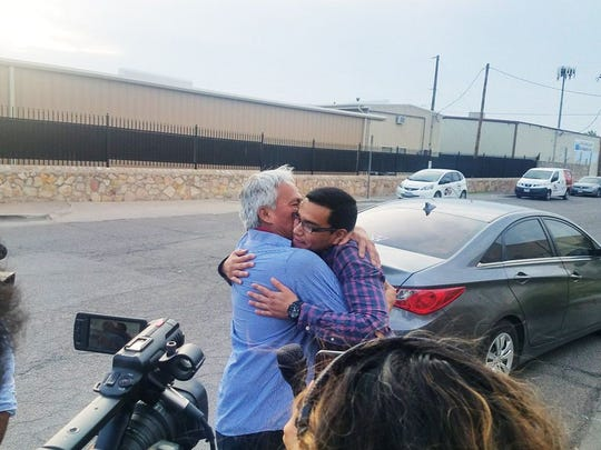Emilio Gutierrez Soto and his son, Oscar, reunite after