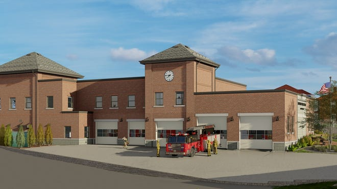 A rendering of the proposed new Maynard fire station.