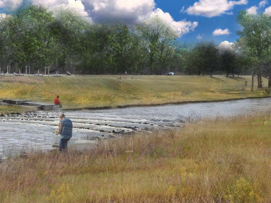 Man-made riffles would be constructed at the dam at the Muncie wastewater treatment plant to allow fish migration.