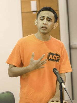 Convicted murderer Chad De Soto speaks during his sentencing hearing at the Superior Court of Guam in September 2014. He received three life sentences without the possibility of parole for the February 2013 Tumon attacks.