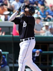 Mar 7, 2018; Lakeland, FL, USA; Detroit Tigers' Victor Martinez celebrates his home run during the second inning against the Toronto Blue Jays at Joker Marchant Stadium.