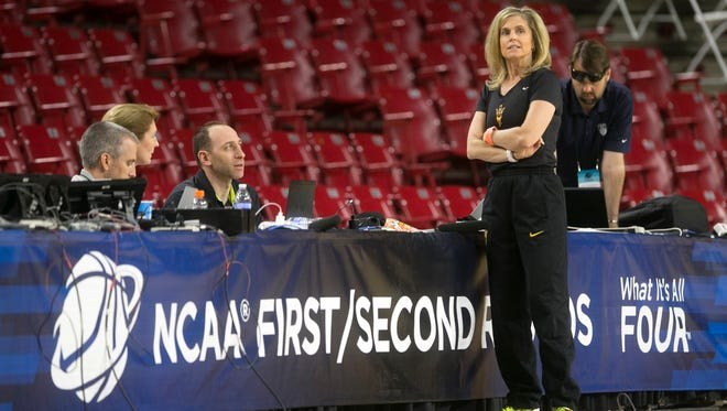 ASU women's basketball coach Charli Turner Thorne looks on during a practice before the first round of the NCAA women's basketball tournament at Wells Fargo Arena on Friday. ASU plays Ohio in the first round on Saturday.