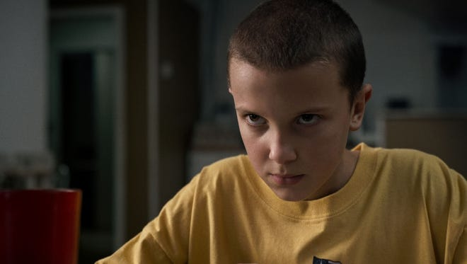 "Millie Bobby Brown as Eleven in a scene from the television series ""Stranger Things"" on Netflix."