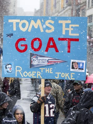One fan's sign at the Patriots' championship parade Tuesday in Boston.