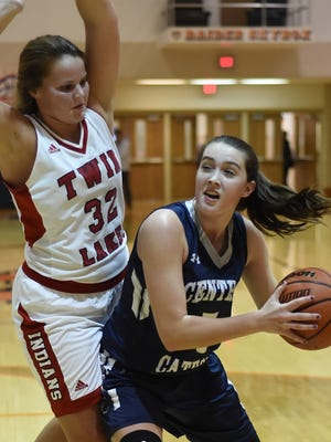 Lexi Thompson drives to the basket for the Knights against Taylor Burns Thursday night at Harrison in the Hoops Classic.