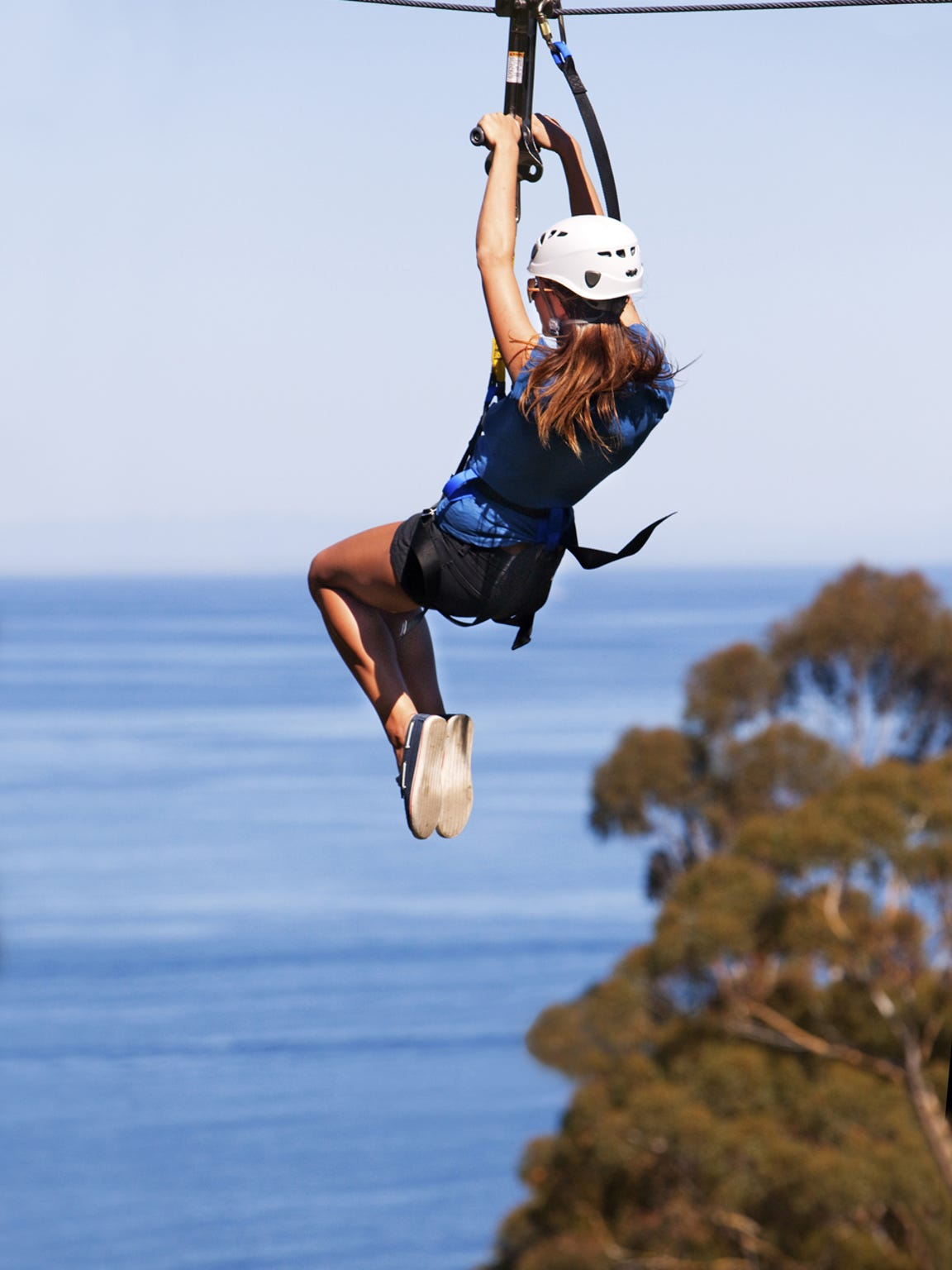 An eco zip line is a popular attraction near Descanso Beach in Catalina.