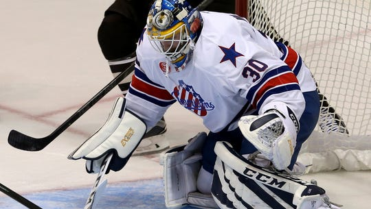 Amerks goalie Linus Ullmark, shown here during the