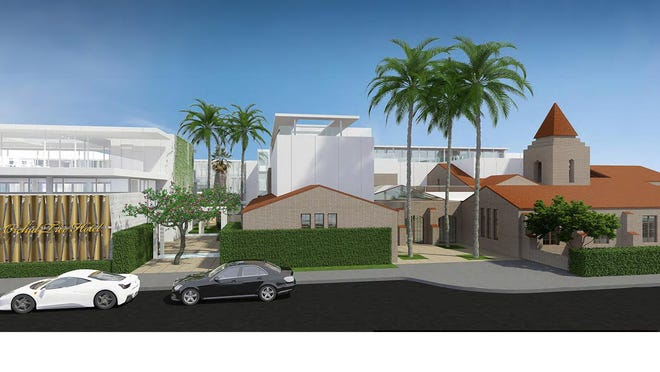 An architect's sketch of the Orchid Tree Inn and Spa, proposed in the Historic Tennis Club neighborhood in Palm Springs.