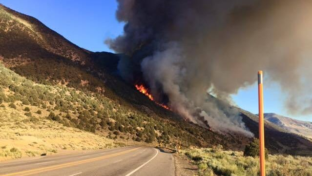 Courtesy of U.S. Forest Service-Inyo National Forest A view of the Marina Fire that sparked Friday north of Lee Vining, Calif., just west of U.S. 395. A view of the Marina Fire that sparked Friday north of Lee Vining, Calif., just west of U.S. 395.
